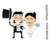 funny cartoon wedding couple | Shutterstock .eps vector #495643939