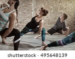 young people doing flexibility ... | Shutterstock . vector #495648139