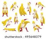 superhero girl poses cartoon... | Shutterstock .eps vector #495648379