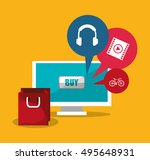 computer and shopping online... | Shutterstock .eps vector #495648931