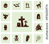 halloween silhouettes icon set. ... | Shutterstock .eps vector #495650974