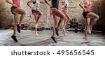 young sporty women  on group... | Shutterstock . vector #495656545