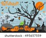 happy halloween card. scary... | Shutterstock .eps vector #495657559