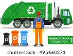 garbage truck collection.... | Shutterstock .eps vector #495660271