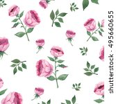 watercolor hand dawn roses and... | Shutterstock . vector #495660655