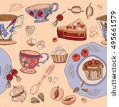 tea cute seamless pattern... | Shutterstock .eps vector #495661579