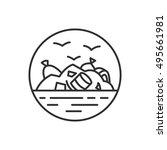 landfill site icon  linear... | Shutterstock .eps vector #495661981