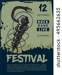 rock music poster with snake... | Shutterstock .eps vector #495662635