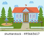 countryside family wooden eco... | Shutterstock .eps vector #495665617