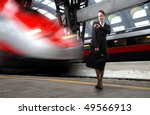 businesswoman standing on a... | Shutterstock . vector #49566913