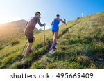 trail running in the mountains... | Shutterstock . vector #495669409