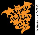 happy halloween funny abstract... | Shutterstock . vector #495672331