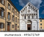 Small photo of 14th century Gothic white and gray marble facade of the Santa Caterina d'Alessandria church in Pisa, Italy