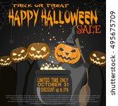 vector poster to halloween sale. | Shutterstock .eps vector #495675709