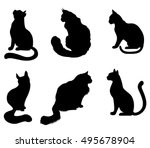 Stock vector vector illustrations of black silhouettes sitting cats set isolated on white background 495678904