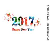 colorful  happy new year 2017... | Shutterstock .eps vector #495684871
