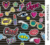 fashion patch badges on... | Shutterstock .eps vector #495690151