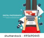 photography equipment with... | Shutterstock .eps vector #495690445