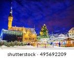 christmas market in tallinn ... | Shutterstock . vector #495692209