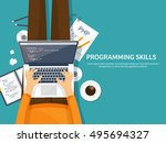 programming and coding... | Shutterstock .eps vector #495694327