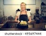 barista cafe coffee uniform... | Shutterstock . vector #495697444