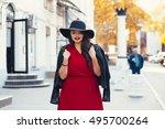 Young Stylish Woman Wearing Re...