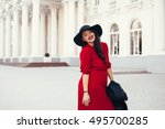 young stylish woman wearing red ... | Shutterstock . vector #495700285