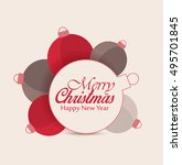 vector christmas balls on red...   Shutterstock .eps vector #495701845