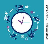 time pressure. business team is ... | Shutterstock .eps vector #495705655