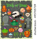trick or treat. halloween icons ... | Shutterstock .eps vector #495705739