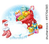 christmas sticker with the bag... | Shutterstock .eps vector #495706585