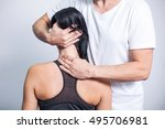 man making a neck massage in...   Shutterstock . vector #495706981