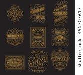 set of antique labels  vintage... | Shutterstock .eps vector #495707617
