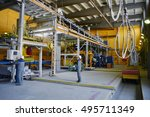 factory workers in the process... | Shutterstock . vector #495711349