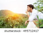 young hipster man taking rest ... | Shutterstock . vector #495712417