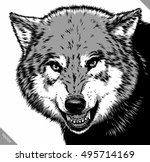 engrave isolated wolf vector...