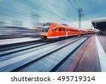 modern high speed red passenger ... | Shutterstock . vector #495719314