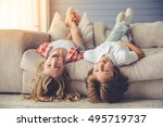 pretty little girl and boy are... | Shutterstock . vector #495719737