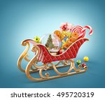 Unusual 3D illustration of red christmas sleigh full of gifts.  Christmas and new year concept