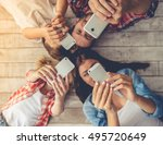 top view of beautiful young... | Shutterstock . vector #495720649