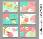 set of artistic colorful... | Shutterstock .eps vector #495722809