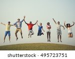 friends hanging out together... | Shutterstock . vector #495723751
