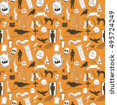 scary symbols seamless... | Shutterstock .eps vector #495724249