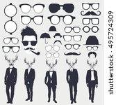 set of glasses and men with... | Shutterstock .eps vector #495724309