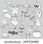 halloween set   Shutterstock .eps vector #495724489