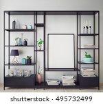 mock up poster frame in hipster ... | Shutterstock . vector #495732499
