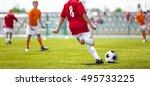 soccer football game for... | Shutterstock . vector #495733225