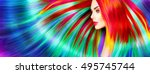 beauty fashion model girl with... | Shutterstock . vector #495745744