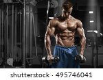 muscular man working out in gym ... | Shutterstock . vector #495746041