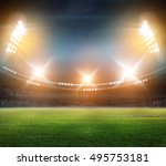 stadium in lights and flashes... | Shutterstock . vector #495753181